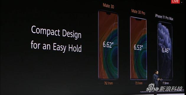 发布会上和华为新机和iPhone对比