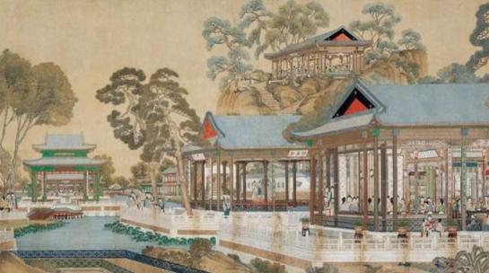 清代绘制《大观园图》:3米多宽画卷 共绘人物173人